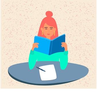 한 학생이 대학에서 책을 읽고 시험이나 학교 시험을 준비하고 있습니다. 어린 소녀가 교과서를 들고 있습니다. 십대는 교과서를 공부하고 있습니다. 만화 스타일의 벡터 평면 그림입니다. 답장