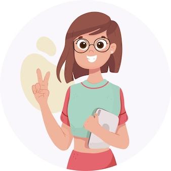 안경을 쓴 학생이 피스 사인을 보여줍니다. 짧은 머리를 한 소녀. 태블릿이 있는 블로거. 나머지 스타일의 벡터 일러스트 레이 션
