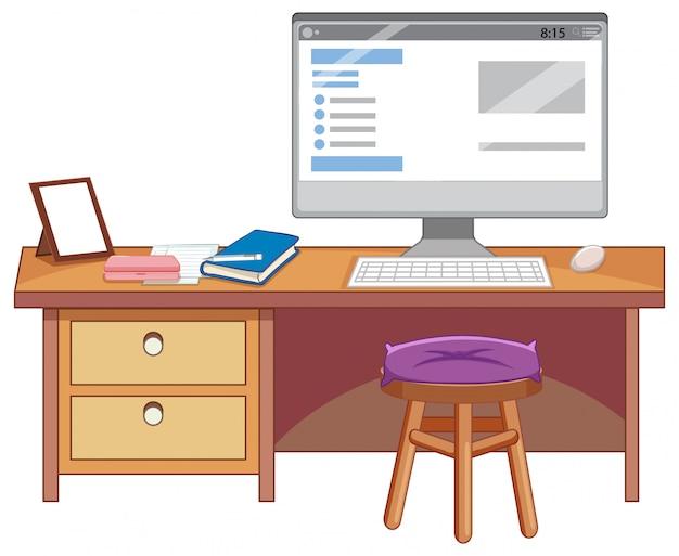 白い背景の上の研究テーブル