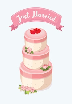 Стильный свадебный торт, украшенный цветами и топперами жениха и невесты.