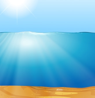 A sunshine through underwater