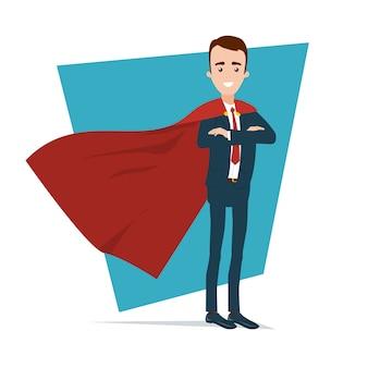 Бизнесмен супергероя стоит в уверенной позе.