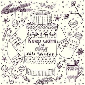 Рождество или зимой открытка с уютным свитером