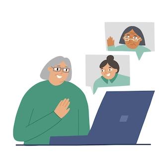 自宅のラップトップで友達とコミュニケーションをとる甘い老婆。オンラインコミュニケーション、現代技術、そして老後の概念。白い背景の上のフラットスタイルのベクトルイラスト。