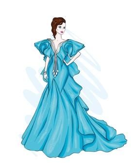 美しいイブニングドレスを着た背の高い、ほっそりした女の子。ファッションスタイル。