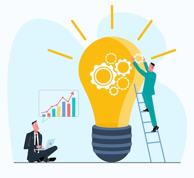 ビジネスマンのチームは、男性が泉から電球を組み立てる新しいアイデアを作成します
