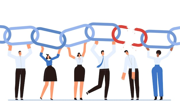 ビジネスマンのチームは、成功したチームワークの象徴としてチェーンを保持しています。