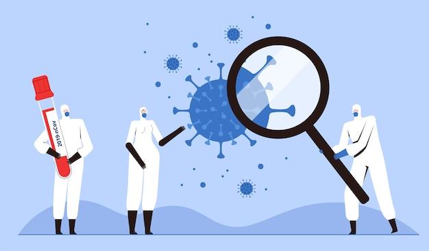 防護服を着た医師のチームが、血液サンプルと新しい2019-ncovコロナウイルスを研究しています。 covid-2019ウイルス制御の概念。平らな