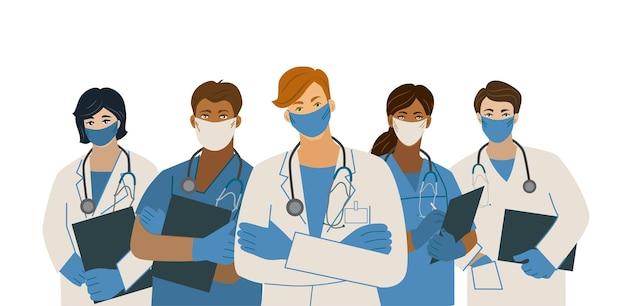白い背景にマスクと聴診器を身に着けている医師のチーム流行
