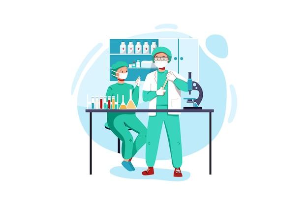 Команда профессиональных ученых-медиков проводит исследования в лаборатории