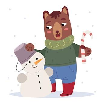 Мишка в зимней одежде лепит снеговика. зимнее настроение. иллюстрация к детской книге. симпатичный плакат.