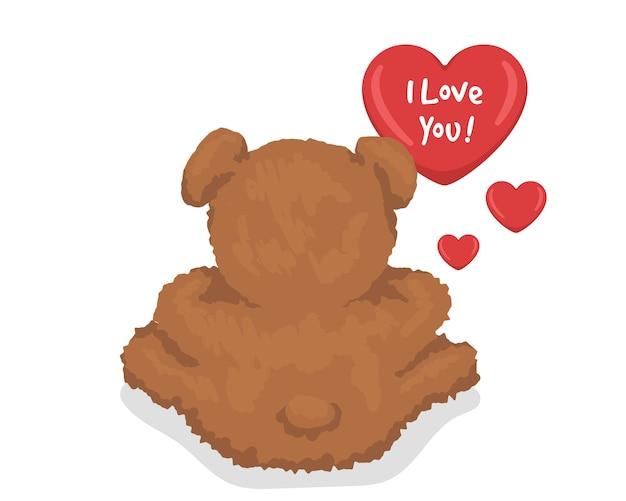 Плюшевый мишка с сердечками. я люблю вас. шаблон для творческой открытки. новая дизайнерская идея. векторная иллюстрация.