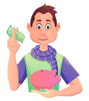 10代の少女がお金を節約するために貯金箱に貯金しています