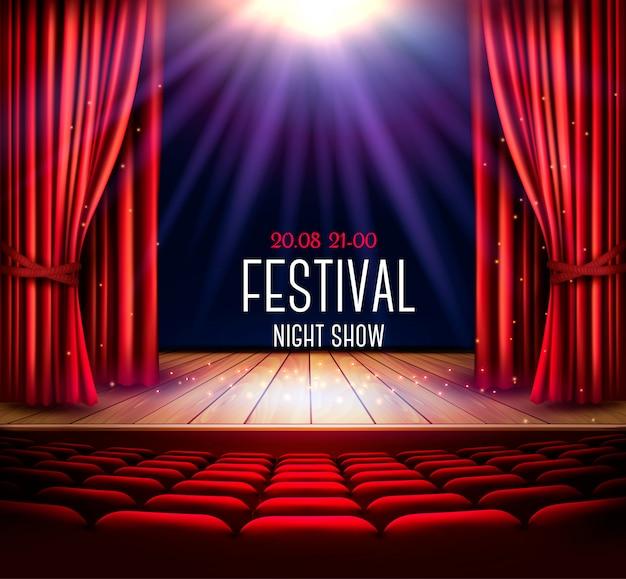 Театральная сцена с красным занавесом и прожектором. фестиваль ночной шоу плакат. , Premium векторы