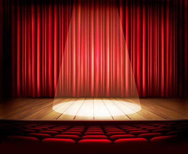 赤いカーテン、座席、スポットライトのある劇場ステージ。