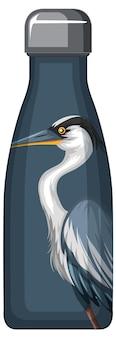 Термос с рисунком синего пеликана