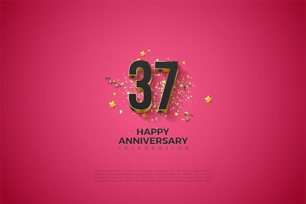37 주년을 기념하는 두꺼운 금색 숫자 레이어
