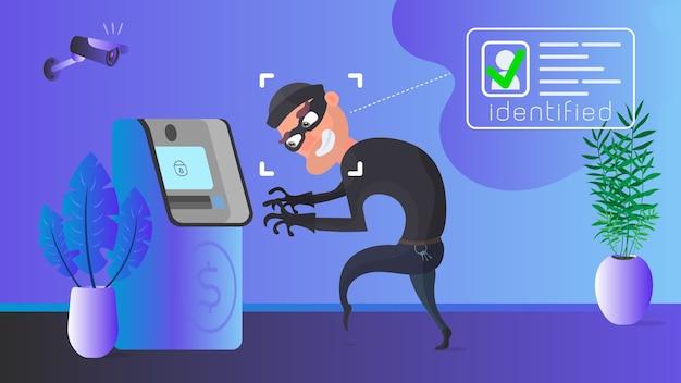 泥棒がatmを奪っています。マスクされた強盗の識別。セキュリティの概念。
