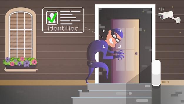 В дом пробирается вор. грабитель пытается взломать дверь. признак ограбления. камера наблюдения зафиксировала вора. концепция безопасности. векторная иллюстрация