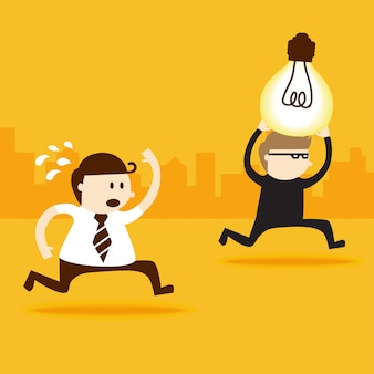 A thief steal light bulb idea from business man