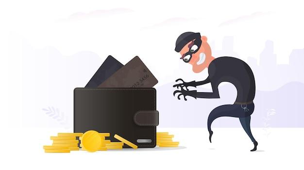 Вор крадет кредитную карту в бумажнике. преступник крадет бумажник мужчины.