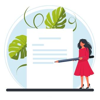 작은 여자가 커다란 연필을 들고 그들에게 편지를 씁니다. 손 그림에 봉투 메일 서신입니다. 문자 쓰기, 보내기 또는 받기 메일 메시지 concept.vector 그림
