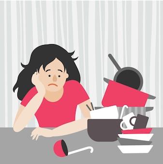 피곤한 주부, 검은 머리를 한 여성이 탁자에 앉아 더러운 접시 더미를 바라보고 있습니다. 접시, 냄비, 프라이팬, 국자, 숟가락. 평면 벡터