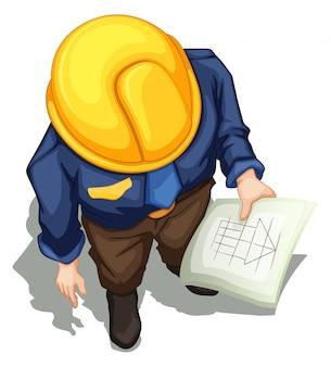 Вид сверху работающего инженера