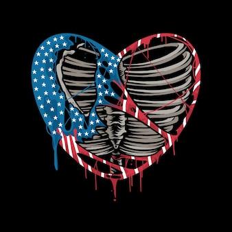 미국 국기의 색으로 찢어진 심장