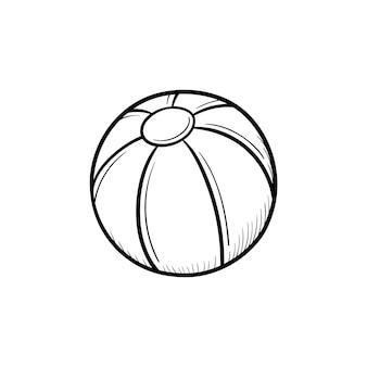 Игрушка пляжный мяч рисованной наброски каракули значок. надувной мяч для активной игры на открытом воздухе вектор эскиз иллюстрации для печати, интернета, мобильных устройств и инфографики, изолированные на белом фоне.
