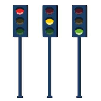 신호등입니다. 도시 교통을 규제하는 수단. 벡터 일러스트 레이 션.