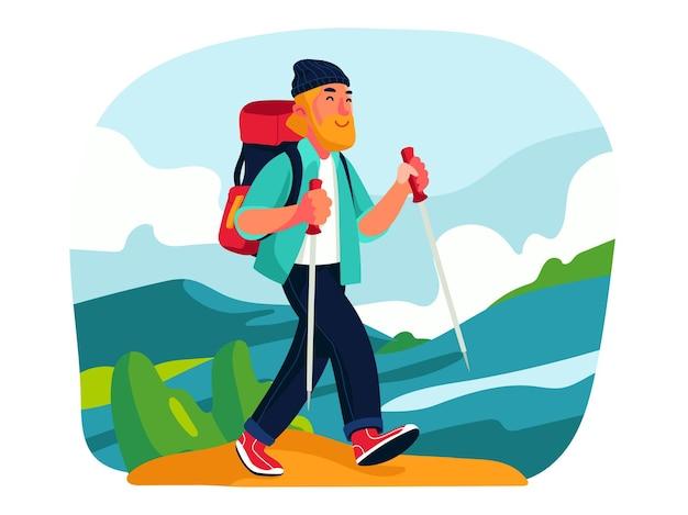 丘のイラストデザインでハイキング旅行者の男性