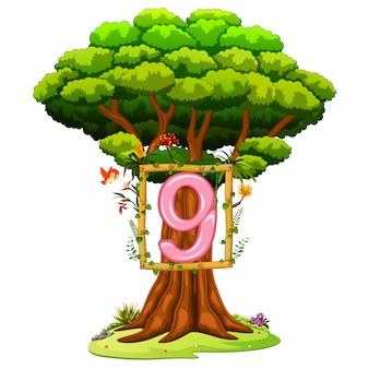 白い背景の上の数9の数字を持つ木