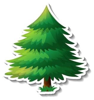 白い背景に緑の葉のステッカーと木