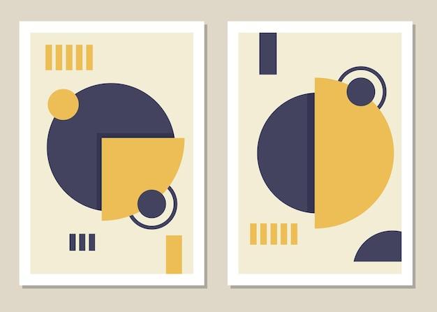 Модный набор абстрактных геометрических фигур в стиле минимализм, отличное украшение для стен, открыток, брошюр, упаковки, обложек. векторная иллюстрация Premium векторы