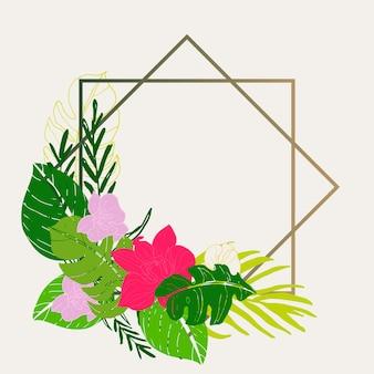 線画の葉とエキゾチックな花のトロピカルカード