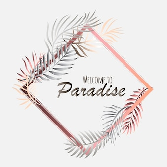 Тропическая открытка с пальмовыми листьями и экзотическими цветами. дизайн летних джунглей идеально подходит для листовок, открыток, этикеток и уникальных дизайнов. вектор