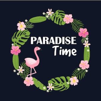 Тропическая открытка с пальмовыми листьями и экзотическими цветами дизайн летних джунглей идеально подходит для флаеров