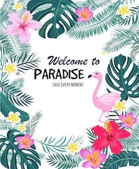Тропическая открытка с пальмовыми листьями, фламинго и экзотическими цветами. дизайн летних джунглей идеально подходит для листовок, открыток, этикеток и уникальных дизайнов. вектор