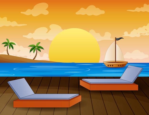 Тропический пейзаж с видом на океан