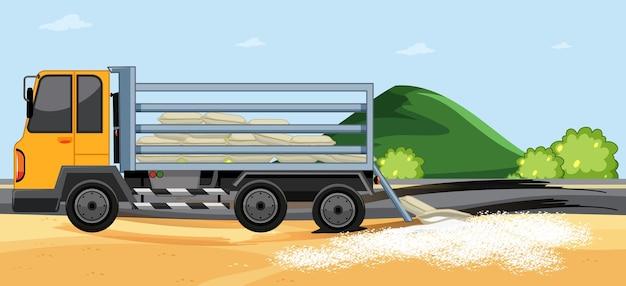 Мешок с рисом для доставки грузовиком