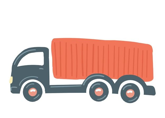 赤いボディのトラック孤立した車手描き漫画スタイルベクトルイラスト貨物