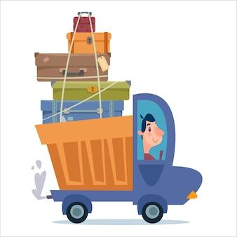 여행 가방과 화물을 실은 트럭이 도로를 질주합니다. 운송 및 재배치 서비스