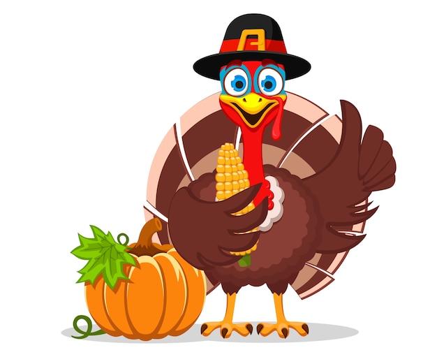 帽子をかぶった七面鳥はとうもろこしのブランコを持っており、白い背景に似たようなものを示しています。キャラクター感謝祭