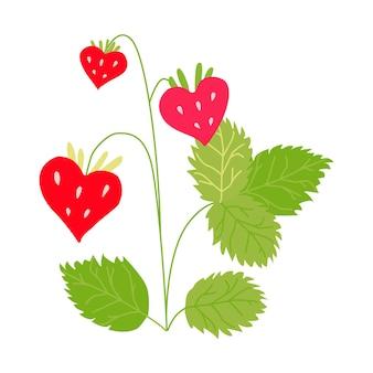 잎이 있는 나뭇가지에 밝은 색의 딸기가 달린 나뭇가지.
