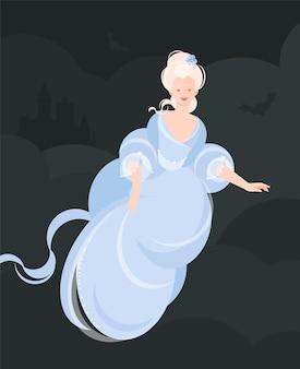 18-19 세기의 푸른 푹신한 드레스를 입은 뱀파이어 소녀가 공중에 솟아 오른다. 머리카락이 발달하고 있습니다. 백그라운드에서 드라큘라의 성. 플랫 만화 스타일의 다채로운 그림입니다.