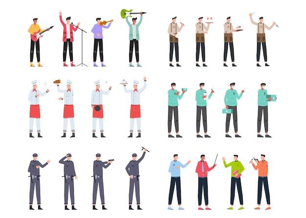 Разнообразные комплекты вакансий для размещения иллюстраций, такие как музыкальная группа, бармен, шеф-повар, врач, полиция, лектор.