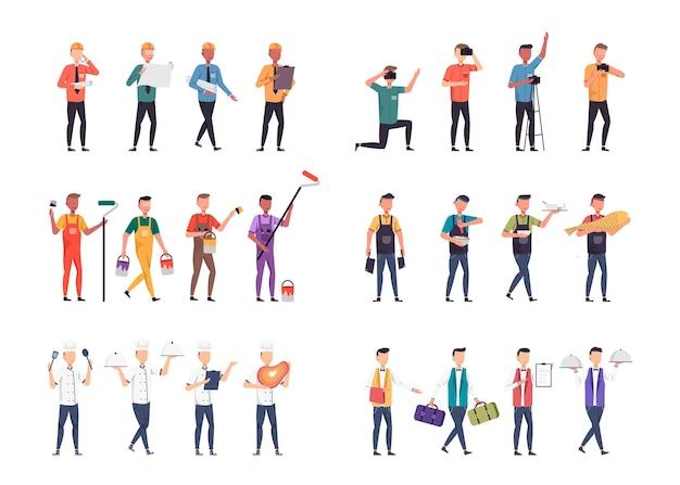 Разнообразные комплекты вакансий для размещения иллюстраций, таких как офисный персонал, бригадир, фотограф, художник, повар, официант.