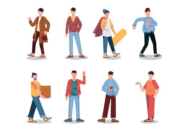 Разнообразные комплекты заданий для размещения иллюстраций, таких как студент, спортсмен, подростки, наборы персонажей, комплект из 8 поз.