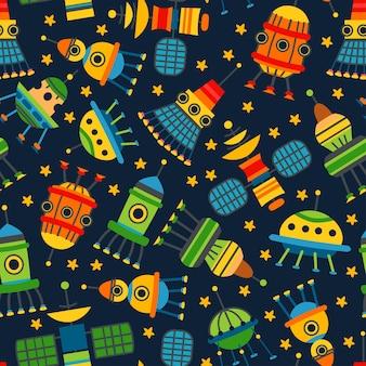 벡터 만화 아이 우주선 완벽 한 패턴입니다. 귀여운 어린이 디자인 템플릿입니다. 직물, 포장지, 연하장 또는 유치원용 포스터를 위한 밝은 지구 위성 아이콘